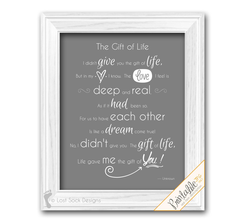 Printable Adoption Poem Wall Art The Gift Of Life Home Decor