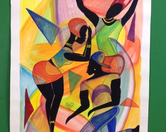 "Jamaica watercolor art 14""x18"""