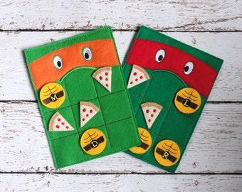 Tic Tac Toe Ninja Turtle ITH Embroidery Design