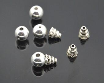 15pc  Tibetan  Antiqued Silver Plated   Guru Bead Set