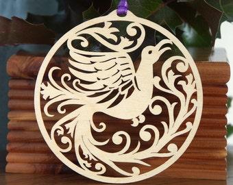 Wooden Bird ornament bird of paradise wood cut design wood-cut bird decoration