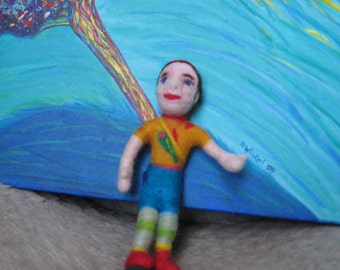 """Healing Friend: I am discovering my wondrous self, colorful needle-felted doll, 7"""" tall, pliable made from mixed materials and love."""