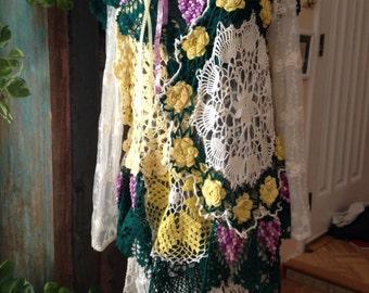 Upcycled Gypsy grape doily dress - boho hippy burner Mori girl style