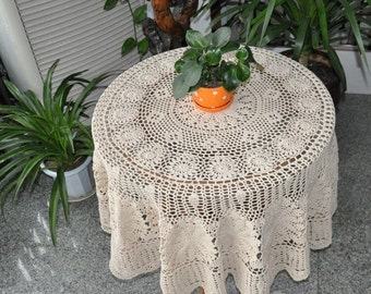 "55"" hand crochet round table cover, Vintage look round tablecloth, crochet design table topper, round table cloth for home decor"