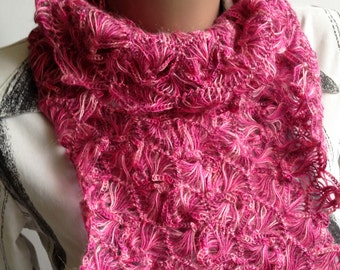 Hairpin Loom Scarf / Beautiful scarf/ Crochet Pink Scarf/ Crochet Lace scarf/ Hairpin Crochet Scarf/ Pink Lace Scarf/ Lace Crochet Scarf