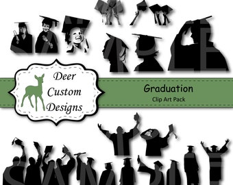 Graduation Silhouettes Clip Art | Graduation Clipart | 18 Digital Graduation PNG | Instant Download | Commercial Use | Graduation Silhouette