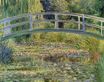 "The Japanese Bridge by Claude Monet, 11.5""x12"", Giclee Canvas Print"