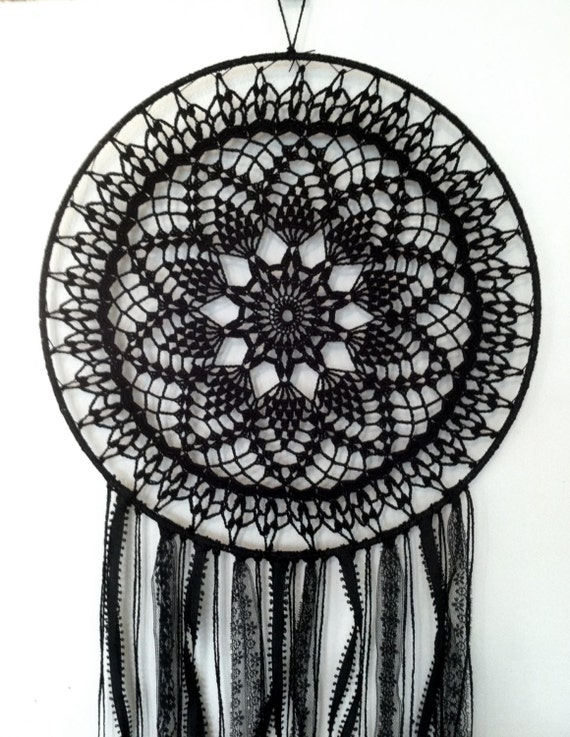 Black magic boho dreamcatcher crochet doily lace by cleansl8 for How to tie a dreamcatcher web