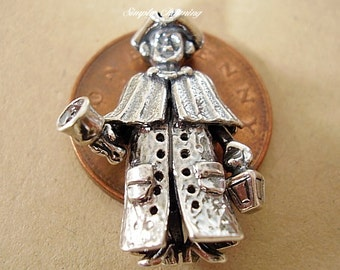 Superbly Detailed Sterling Silver Town Crier Charm