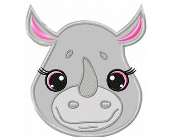 Girl Rhino Applique  Machine Embroidery DESIGN NO. 245