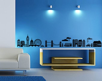 Modern City silhouette wall decal,Building silhouette wall sticker,Car and bridge wall decal,living room fashion wall sticker-7148-3914