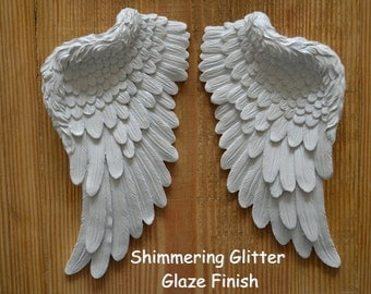 Beautiful Vintage Antique Style Shabby Chic Shimmering Creamy White Angel Wings Wall Art Decoration