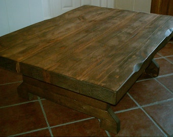 Antique white harvest coffee table for Large chunky coffee table