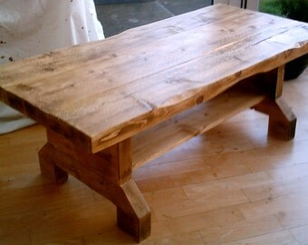 Hand Made Rustic Coffee Table with Shelf - Solid Wood 016