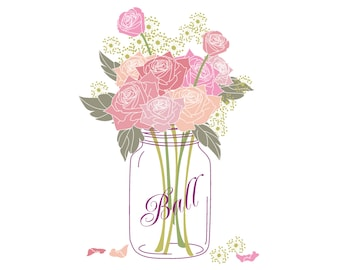 Popular Items For Jar With Roses On Etsy