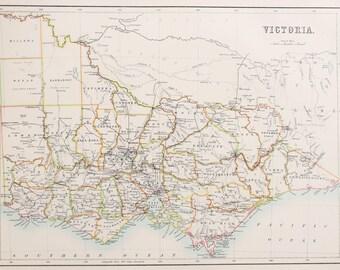 Large 1897 Blacks Antique Map, Colour Map, Australia, Victoria
