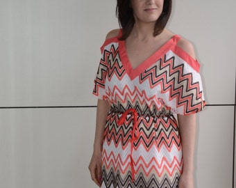 35 % On SALE Zig zag Pattern Orange and Turquoise Summer Dress, Rope Belt dress, Trendy and Cool
