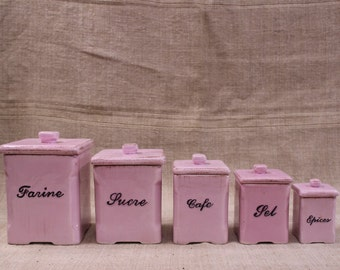 Set of 5 kitchen ceramic canisters, vintage French