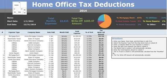 Home Office Deduction Tracking Tax Write Off Calculator