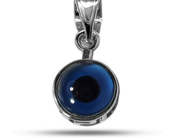Sterling Silver Rhodium Plated Greek Meandros Evil Eye ( 10mm )