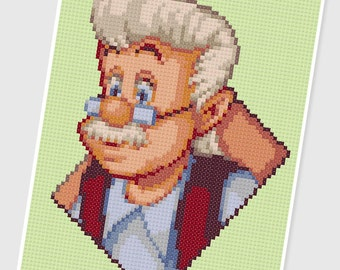 PDF Cross Stitch pattern - 0240.Geppetto ( Pinocchio ) - INSTANT DOWNLOAD