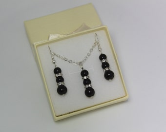 Black faux pearls beautiful jewellery set wedding bridal bridesmaid flower girl necklace earrings  ASAHT201004