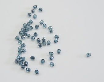 3 mm  Steel Blue  AB  Fire Polished  Beads (50)