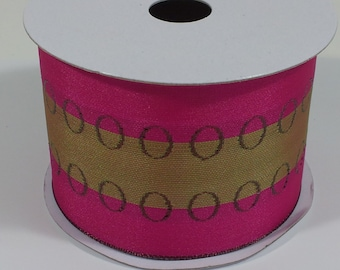 "2 1/2"" Wired Woven Ribbon with Rings - Fuchsia - 10 Yards"