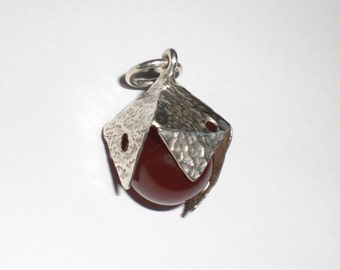 carneol pendant silver sterling 925 with a red carneol ball