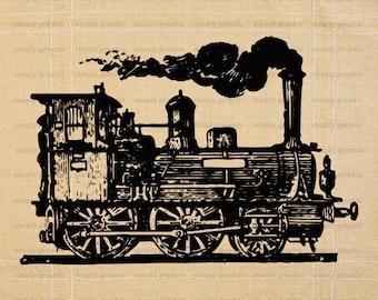 Steampunk, Old Train, Carriage, Steam Punk, Old Machine, Railway, Vintage Train, Instant Download, Burlap Digital Paper, Image Transfer b355