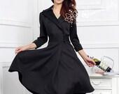 Women Sexy Long Sleeve Bodycon Coat Skirt Black Fashional Autumn Winter Formal Classic Office Wear Working Outfits Dress 4XL J1008
