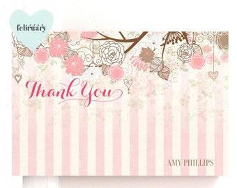 Printable Thank You Card - Flat Card 4x6 - Pink and Brown - Printable No.194
