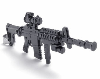 Black Stainless Steel Men's Army Gun Rifle Pendant Necklace Chain M16 Rifle L85 rifle gun  AK-47 Rifle Necklace