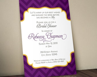 Chevron Bridal Shower Digital Printable Invitation