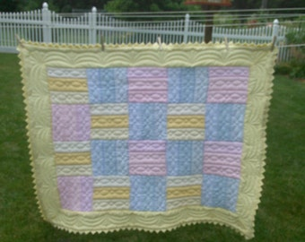 Rail Fence Hand Quilted Baby Quilt