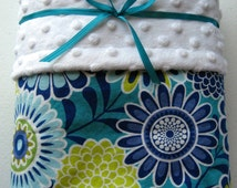 Minky Baby Blanket - 30x36 - Blue and green flowers with snow white minky dot - Handmade - Ready to ship!