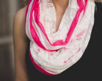 Lace Infinity Scarf- Hot Pink and White Striped Fashion Knit with White Stretch Lace