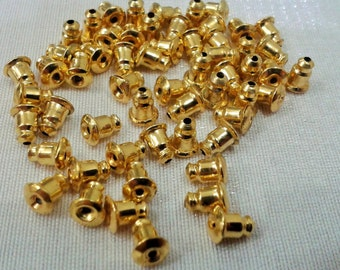 100 Pcs ( 50 Pairs )  Gold  Tone    6 x 5 mm  Earrings  Stoppers