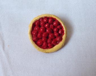 Handmade cherry pie brooch