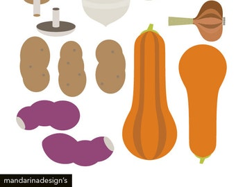 Vegetables Clip Potato Sweet Potato Pumpkin Champignon Graphics for Scrapbooking DIY Printable Instant Download