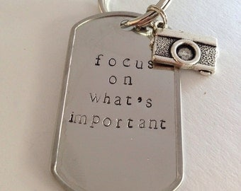 Focus on What's Important Camera Keychain