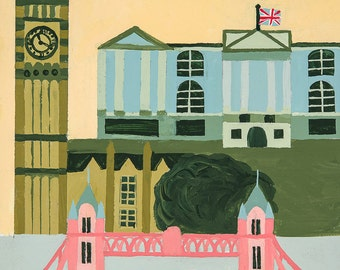 London, England- Graphic Cityscape 8x10 Art Print (image 5x7 with 3 in white border) Ready to frame!