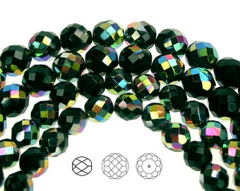 12mm (34pcs) Black Emerald Vitrail coated, Czech Fire Polished Round Faceted Glass Beads, 16 inch strand
