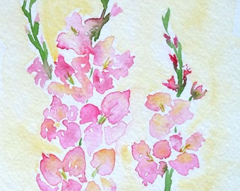 Gladiolus Watercolor Notecard
