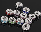 20pcs Mixed Colors Crystal Rhinestone Silver Plated Spacer European Beads For DIY Jewelry Bracelet ,6x10mm Big Hole Charm Accessories