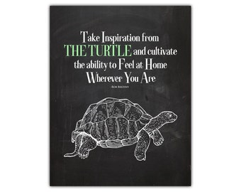 Inspirational wall print art - turtle art - motivational wall decor - chalkboard wall art - college dorm room - inspirational office print