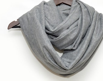 Gray infinity scarf , spring scarf, light scarf, t-shirt scarf, cotton jersey scarf, soft scarf