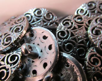 5 Metal Shank Buttons- 20mm- High Quality- Gunmetal Hollow Design