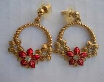Avon Earrings, Drop Earrings, Vintage Jewelry, Flower Earrings, Post Style, Avon Jewelry