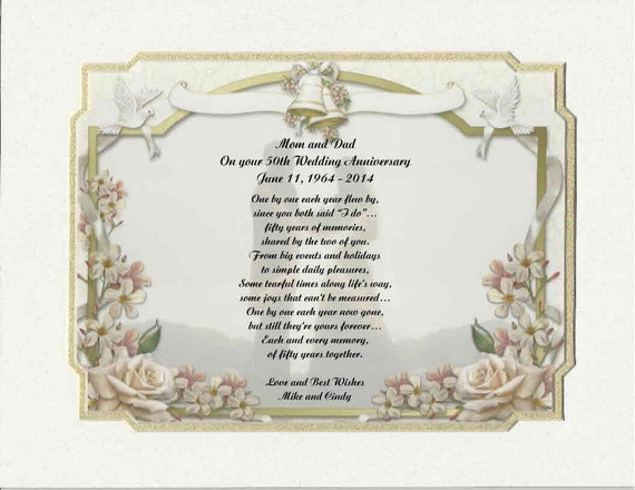 Personalized 50th Wedding Anniversary Poem Gift For Mother